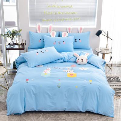 2020新款韩版全棉刺绣工艺款小清新四件套 1.5m(5英尺)床 床单款-开心时光-蓝色