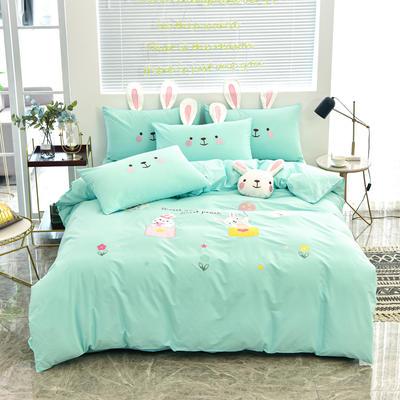 2020新款韩版全棉刺绣工艺款小清新四件套 1.5m(5英尺)床 床单款-开心时光-绿色
