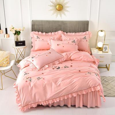 2020新款韩版全棉刺绣工艺款小清新四件套 1.5m(5英尺)床 床裙款-草莓心情-粉色