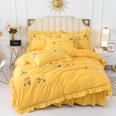 2020新款韩版全棉刺绣工艺款小清新四件套 1.5m(5英尺)床 床裙款-草莓心情-黄色