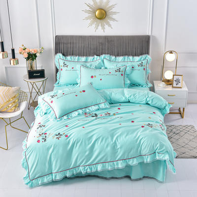 2020新款韩版全棉刺绣工艺款小清新四件套 1.5m(5英尺)床 床裙款-草莓心情-绿色