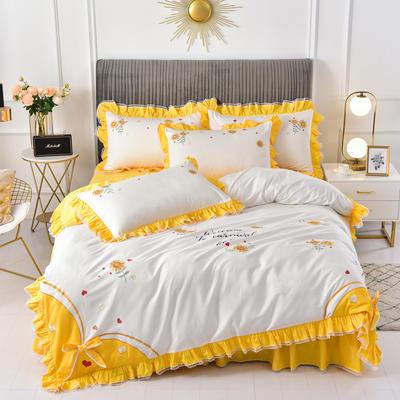 2020新款韩版全棉刺绣工艺款小清新四件套 1.5m(5英尺)床 床裙款-夏日暖阳-黄色