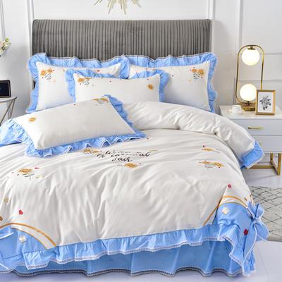 2020新款韩版全棉刺绣工艺款小清新四件套 1.5m(5英尺)床 床裙款-夏日暖阳-蓝色