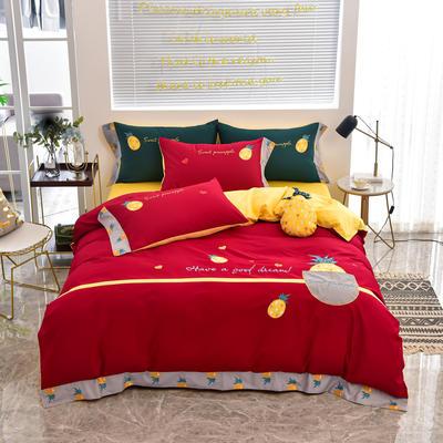 2020新款韩版全棉刺绣工艺款小清新四件套-床单款 1.5m(5英尺)床 床单款-元气菠萝-红色