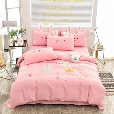 2020新款韩版全棉刺绣工艺款小清新四件套-床单款 1.5m(5英尺)床 床单款-开心时光-粉色