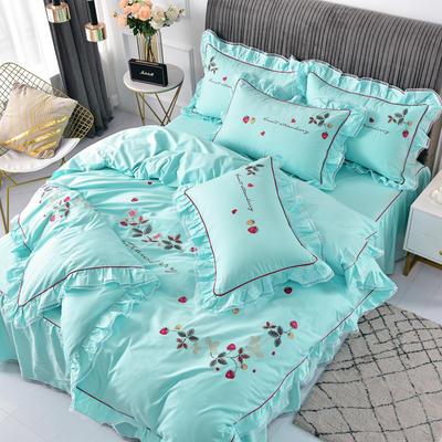 2020新款韩版全棉刺绣工艺款小清新四件套-床裙款 1.5m(5英尺)床 床裙款-草莓心情-绿色
