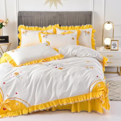 2020新款韩版全棉刺绣工艺款小清新四件套-床裙款 1.5m(5英尺)床 床裙款-夏日暖阳-黄色