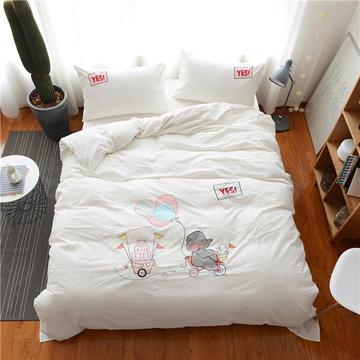 水洗棉贴布绣四件套 标准(1.5m床-1.8m床) 快乐象-白