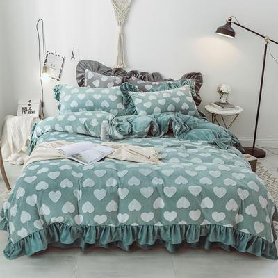 2018新款-牛奶雕花绒 公主风床裙款四件套-爱心 1.5m(5英尺)床 爱心 豆绿