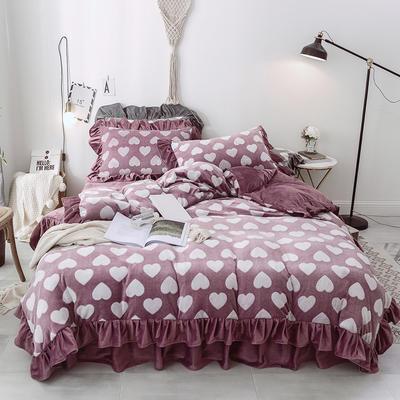2018新款-牛奶雕花绒 公主风床裙款四件套-爱心 1.5m(5英尺)床 爱心 豆沙