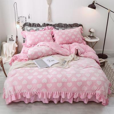 2018新款-牛奶雕花绒 公主风床裙款四件套-爱心 1.5m(5英尺)床 爱心 粉