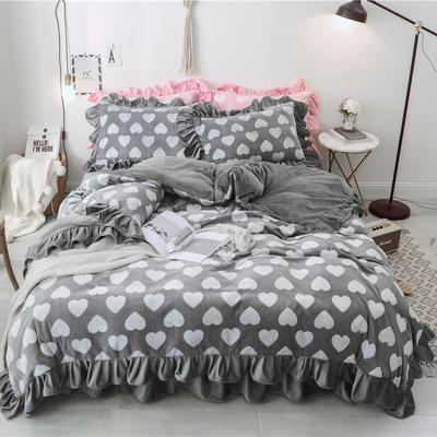 2018新款-牛奶雕花绒 公主风床裙款四件套-爱心 1.5m(5英尺)床 爱心 灰