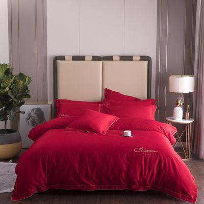 2019新款2019新款60长绒棉四件套-克莉斯汀 1.5m(5英尺)床 克莉斯汀-烈焰红