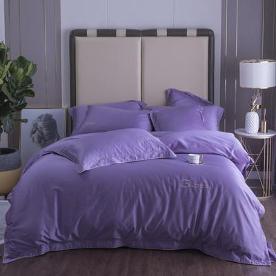 2019新款2019新款60长绒棉四件套-克莉斯汀 1.5m(5英尺)床 克莉斯汀-优雅紫