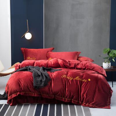 2019新款水晶绒莫妮卡四件套 1.8m床单款 酒红