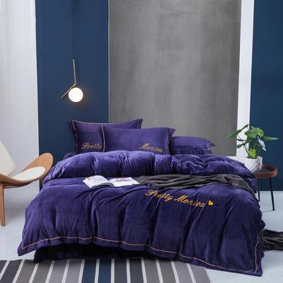 2019新款水晶绒莫妮卡四件套 1.8m床单款 紫罗兰