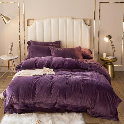 2019新款水晶绒欧式镂空边初见系列四件套 1.8m床单款 酱紫
