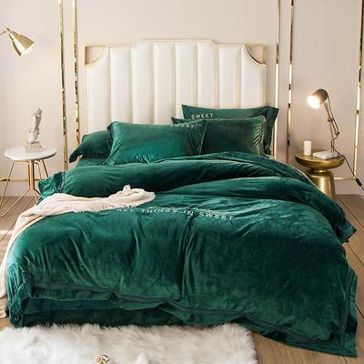 2019新款水晶绒欧式镂空边初见系列四件套 1.5m床单款 祖母绿