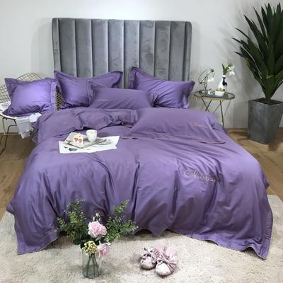 2020新款60长绒棉克里斯汀四件套-手机实拍 1.5m床单款 克莉斯汀-优雅紫
