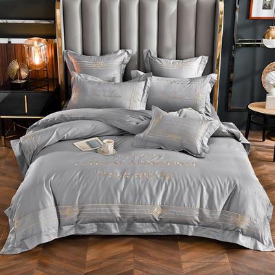 2020新款60长绒棉四件套-莱斯特 1.5m床单款四件套 罗马灰