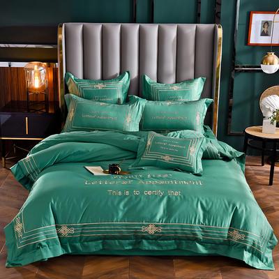 2020新款60长绒棉四件套-莱斯特 1.5m床单款四件套 祖母绿