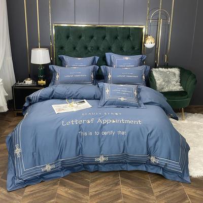 2020新款60长绒棉四件套-莱斯特(实拍) 1.5m床单款四件套 宫廷蓝