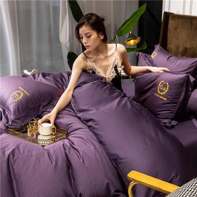2020新款60长绒棉提花四件套-锦系列 1.8m床单款四件套 锦-帝王紫
