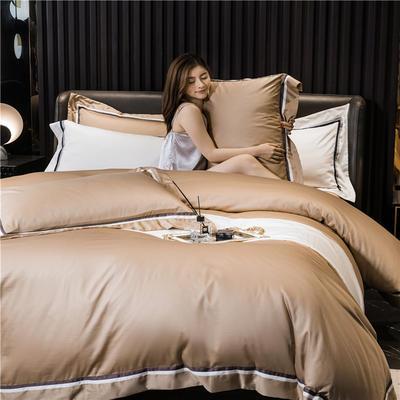 2020新款60长绒棉四件套-典雅 1.8m床单款四件套 典雅-奶咖