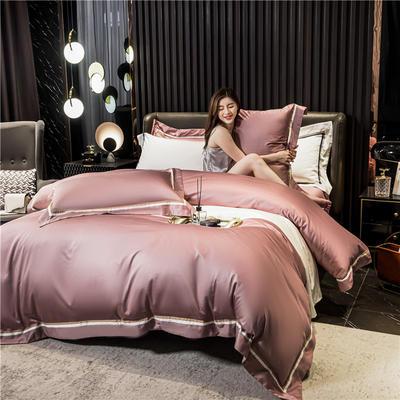 2020新款60长绒棉四件套-典雅 1.8m床单款四件套 典雅-紫豆沙