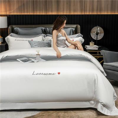 2020新款60长绒棉四件套-唯爱系列 单枕套/对 唯爱-贵族白