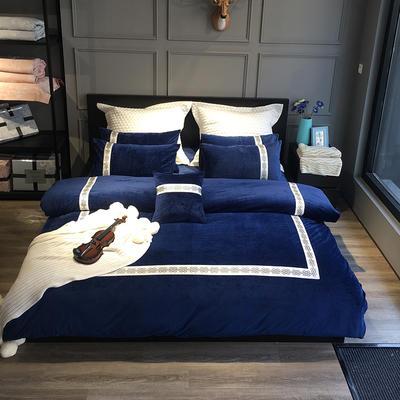 2020新款水晶绒欧尚系列四件套 1.8m床单款四件套 欧尚-藏蓝