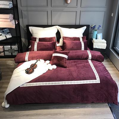 2020新款水晶绒欧尚系列四件套 1.8m床单款四件套 欧尚-酒红