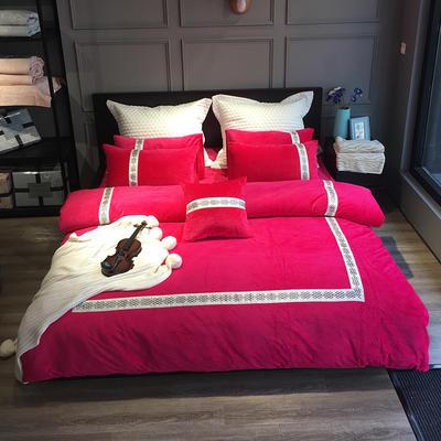 2020新款水晶绒欧尚系列四件套 1.8m床单款四件套 欧尚-玫红