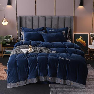 2020新款水晶绒纽扣款四件套 1.5m床单款四件套 蓝灰