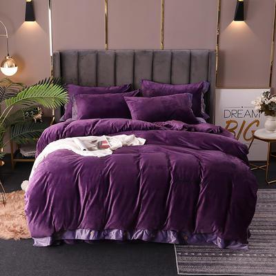 2020新款水晶绒纽扣款四件套 1.5m床单款四件套 冷艳紫