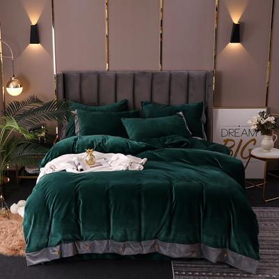 2020新款水晶绒纽扣款四件套 1.5m床单款四件套 祖母绿