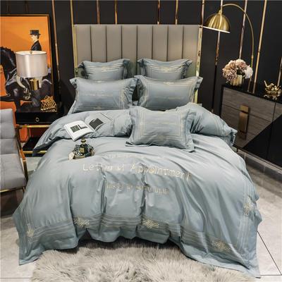 2021新款60长绒棉刺绣莱斯特系列四件套 1.8m床单款四件套 罗马灰