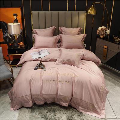 2021新款60长绒棉刺绣莱斯特系列四件套 1.8m床单款四件套 藕粉