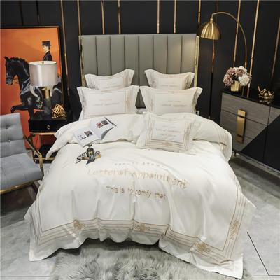 2021新款60长绒棉刺绣莱斯特系列四件套 1.8m床单款四件套 象牙白