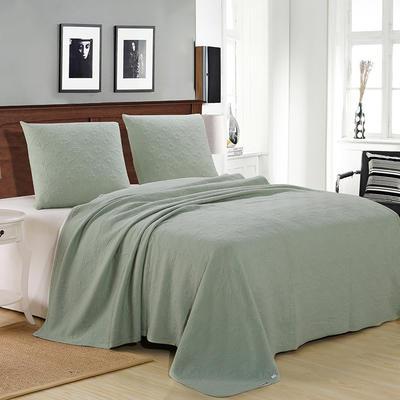 2021新款针织水洗棉夏被提花面料 窄幅210cm 草绿色