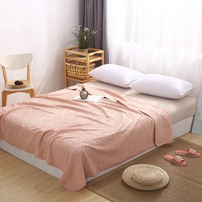 2021新款针织水洗棉夏被提花面料 窄幅210cm 粉色