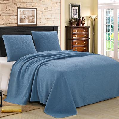 2021新款针织水洗棉夏被提花面料 窄幅210cm 深蓝色