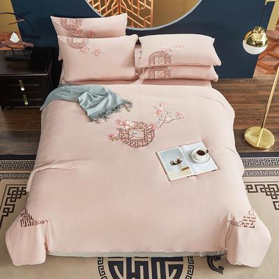 2021新款60s长绒棉针织四件套 1.5m床单款四件套 荷塘月色—粉