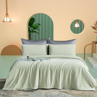 2021新款60s长绒棉针织四件套 1.5m床单款四件套 抹茶绿