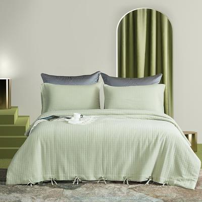 2021新款60s长绒棉针织四件套 1.5m床单款四件套 抹香奶绿
