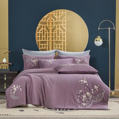 2021新款60s长绒棉针织四件套 1.5m床单款四件套 诗漫潇湘—紫