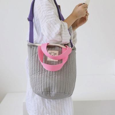2020新款韩国独家绗缝包包 底直径18cm 高24cm 灰色