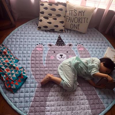 (总)飞达地垫 韩国儿童棉地垫常规厚度-圆形 直径1.5m(正负5cm公差) 圆形薄荷熊