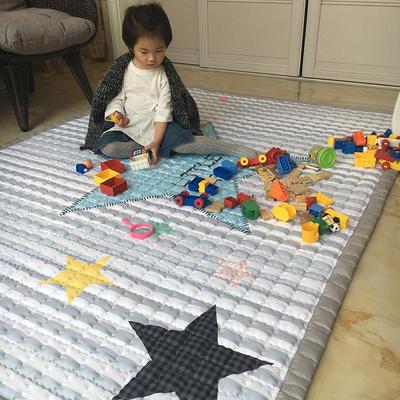 (总)飞达地垫 韩国儿童棉地垫常规厚度-长方形 1.5m*2.0m(正负5cm工差) 方灰条五角星
