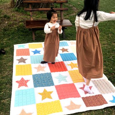 (总)飞达地垫 韩国儿童棉地垫常规厚度-长方形 1.5m*2.0m(正负5cm工差) 星星